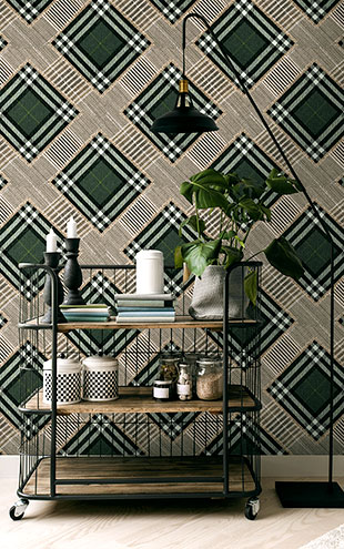 Mind the Gap / CHECKERED PATCHWORK British Green WP20389