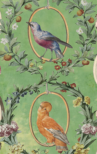 Mind the Gap / LSC / TRANSYLVANIAN MANOR WALLPAPER COLLECTION / COUNTESSE'S AVIARIUM Mint WP20426