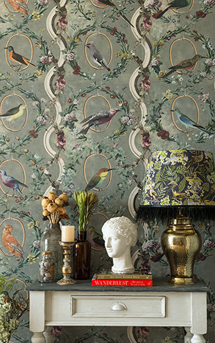 Mind the Gap / LSC / TRANSYLVANIAN MANOR WALLPAPER COLLECTION / COUNTESSE'S AVIARIUM Neutral WP20427
