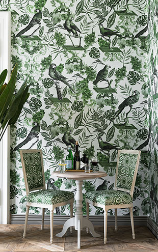 Mind the Gap / LSC / TRANSYLVANIAN MANOR WALLPAPER COLLECTION / LA VOLIERE GREEN WP20438