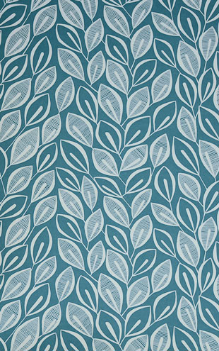 MissPrint Collection1 Leaves Teal with White MISP1030