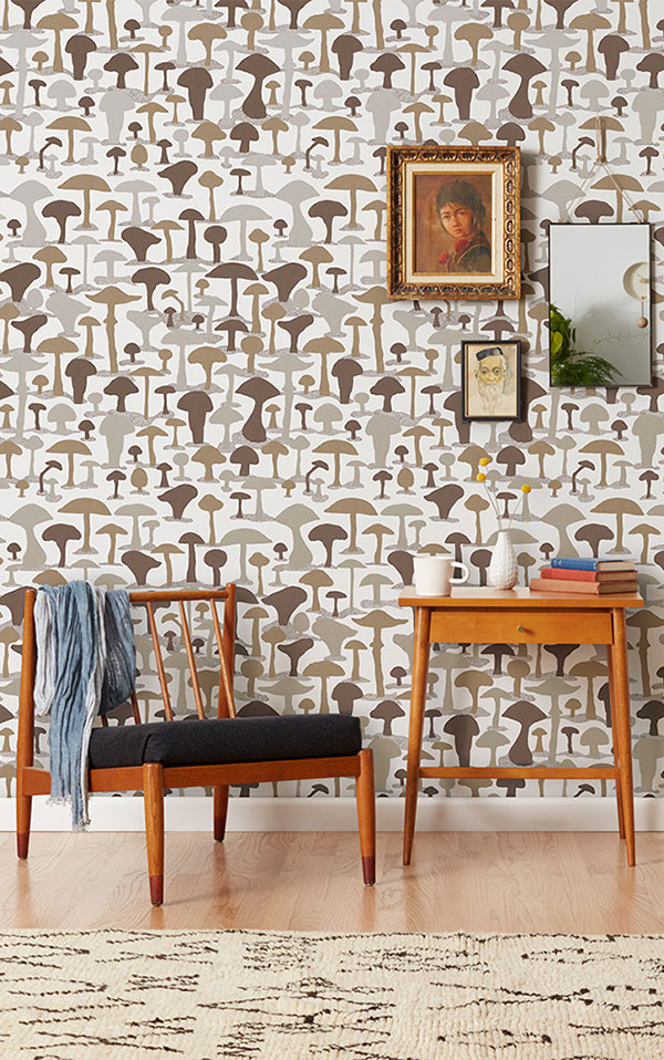 Makelike /  Mushroom Wallpaper Metallic