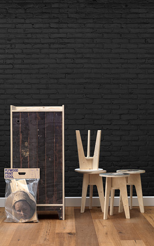 MATERIALS BLACK BRICK WALLPAPER BY PIET HEIN EEK / PHM-33
