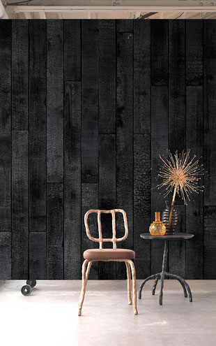 MATERIALS WALLPAPER by Piet Hein Eek MAARTEN BAAS BURNT WOOD WALLPAPER / PHM-35