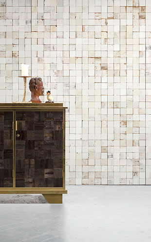 NLXL MONOCHROME WALLPAPER MOSAIC SQUARES WHITE WALLPAPER BY PIET HEIN EEK PHE-21