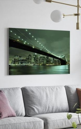 【Canvas Print】PHOTOWALL / Brooklyn Bridge at Night Green (e9014)