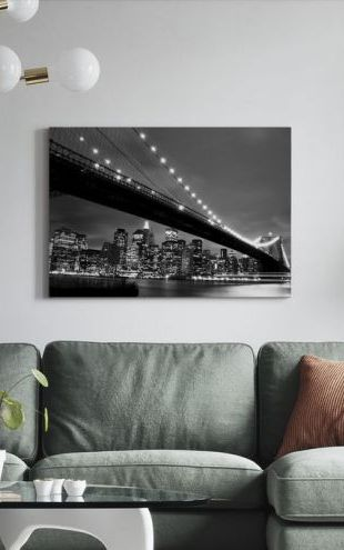 【Canvas Print】PHOTOWALL / Brooklyn Bridge at Night - b/w (e9040)