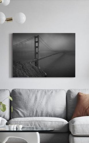 【Canvas Print】PHOTOWALL / Golden Gate - b/w (e10044)
