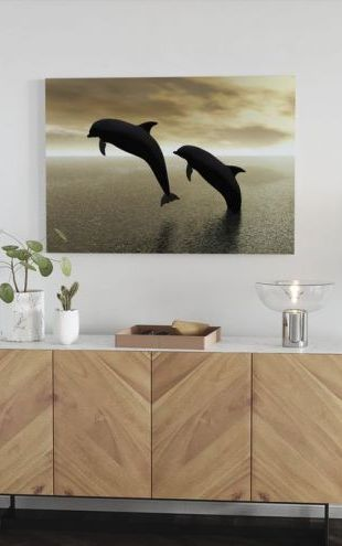 【Canvas Print】PHOTOWALL / Dolphin Silhouettes (e10064)