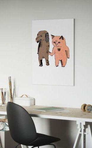 【Canvas Print】PHOTOWALL / Cat and Dog (e6092)