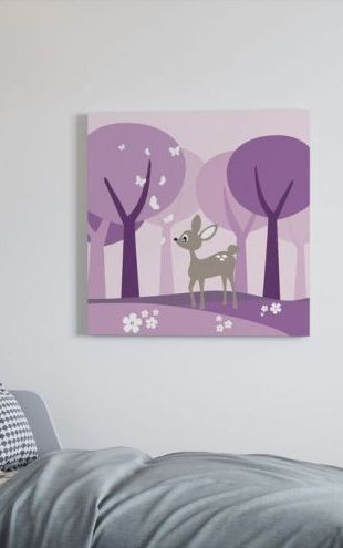 【Canvas Print】PHOTOWALL / Deer in Purple Woods (e20107)