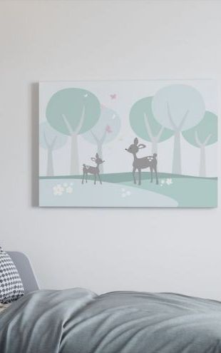 【Canvas Print】PHOTOWALL / Deer in Woods (e20898)