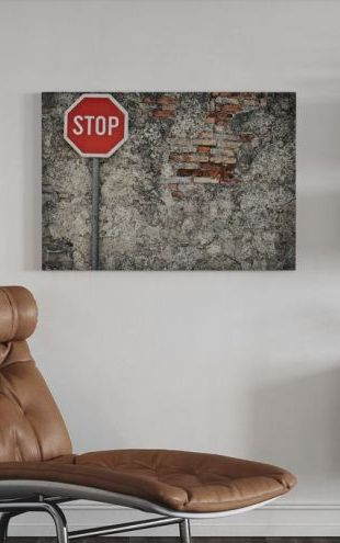 【Canvas Print】PHOTOWALL / Stop Sign Against Grungy Wall (e21322)