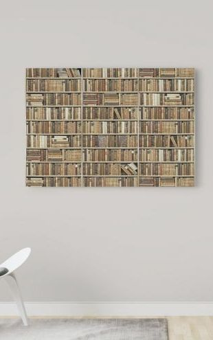 【Canvas Print】PHOTOWALL / Bookshelf - Wooden - Beige (e22011)