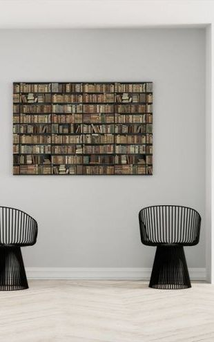 【Canvas Print】PHOTOWALL / Bookshelf - Black - Brown Long (e22014)