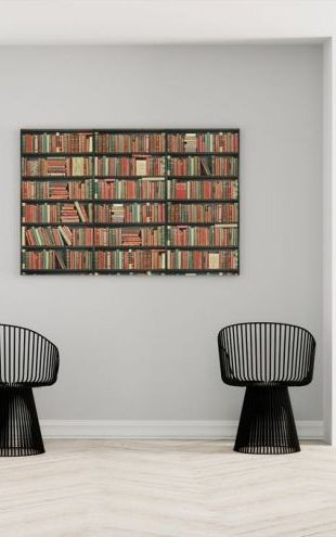 【Canvas Print】PHOTOWALL / Bookshelf - Black - Red Green (e22017)