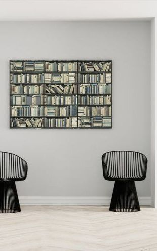 【Canvas Print】PHOTOWALL / Bookshelf - Black - Blue (e22019)