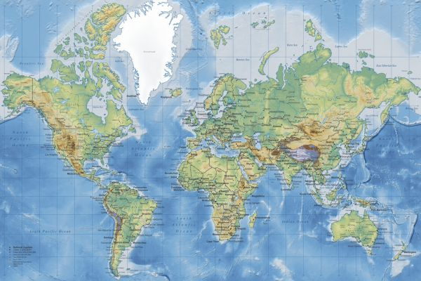 【Canvas Print】PHOTOWALL / World Map Detailed (e22619)