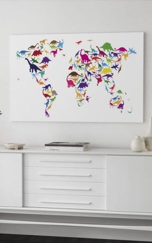 【Canvas Print】PHOTOWALL / Dinosaur World Map (e22674)