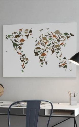 【Canvas Print】PHOTOWALL / Dinosaur World Map Multicolor (e22701)
