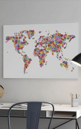【Canvas Print】PHOTOWALL / Flowers World Map (e22708)