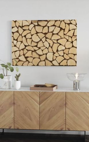 【Canvas Print】PHOTOWALL / Light Brown Firewood (e23065)