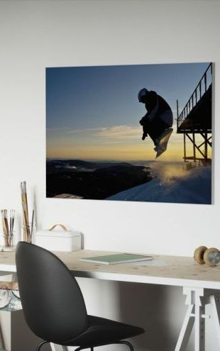 【Canvas Print】PHOTOWALL / Snowboarder Jump from a Bridge (e23220)