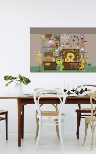 【Canvas Print】PHOTOWALL / Cheerful Claude and Bernard in Mellow Mart Store (e24111)
