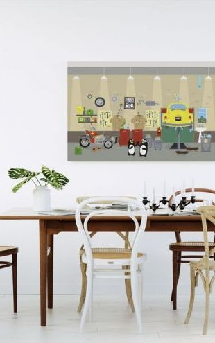【Canvas Print】PHOTOWALL / Flappa and Floppa inside Mellow Motors (e24112)