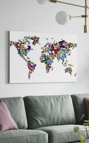 【Canvas Print】PHOTOWALL / Large Butterflies World Map (e24208)