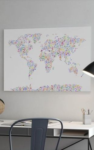 【Canvas Print】PHOTOWALL / Music Notes World Map Color (e24210)
