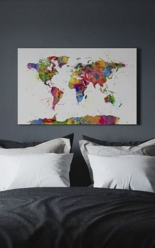 【Canvas Print】PHOTOWALL / Paint Splashes Map 2 (e24211)
