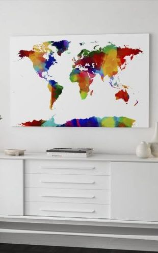 【Canvas Print】PHOTOWALL / Sponge Paint World Map (e24213)
