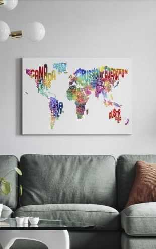 【Canvas Print】PHOTOWALL / Typographic Text World Map 2 (e24215)
