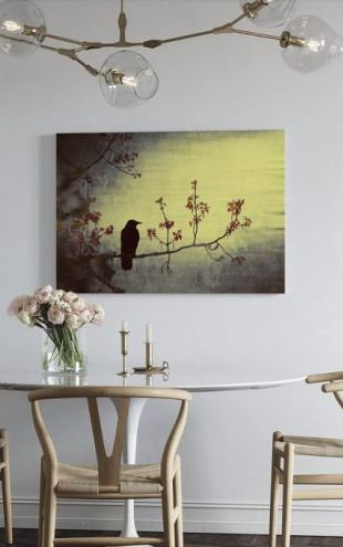 【Canvas Print】PHOTOWALL / Crow on Flowering Branch (e24370)