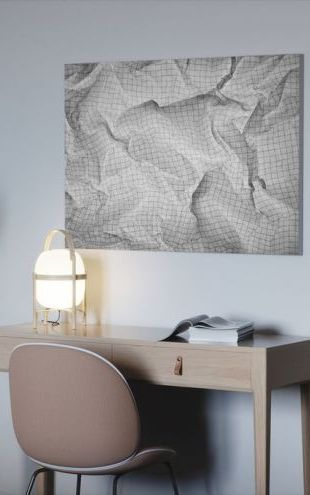 【Canvas Print】PHOTOWALL / Wrinkled Squared Paper (e24443)