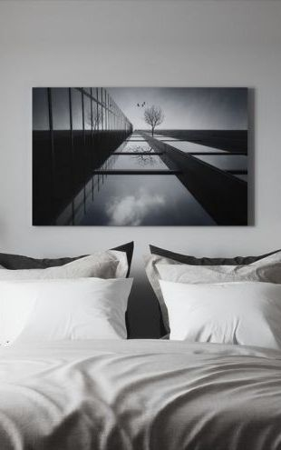 【Canvas Print】PHOTOWALL / The Ethereal Flying Garden, black and white (e29478)