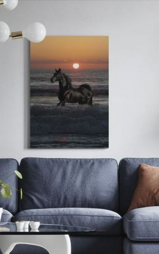 【Canvas Print】PHOTOWALL / Horse Bathing in Sunset (e29611)