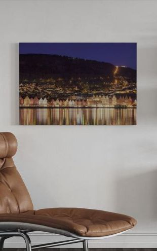 【Canvas Print】PHOTOWALL / Colorful Houses of Bergen, Norway (e29924)
