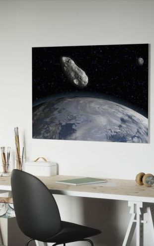 【Canvas Print】PHOTOWALL / Asteroid and Planet Earth (e25837)