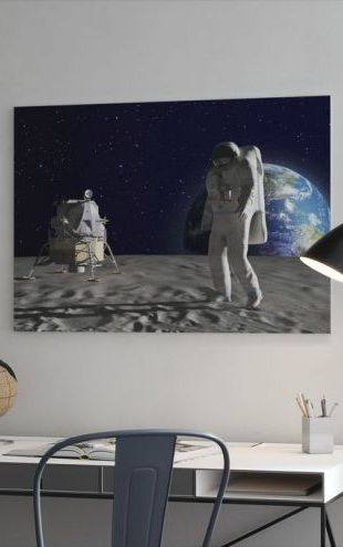 【Canvas Print】PHOTOWALL / Astronaut on the Moon (e25840)