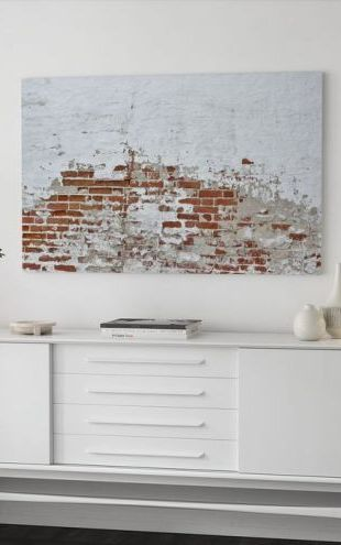 【Canvas Print】PHOTOWALL / Red Brick Wall with Sprinkled White Plaster (e40677)