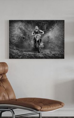 【Canvas Print】PHOTOWALL / Spray Mud Motorcycle, black and white (e30611)