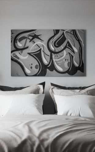【Canvas Print】PHOTOWALL / Grey Tag, black and white (e40920)