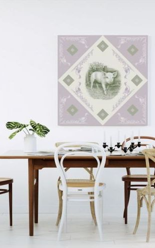 【Canvas Print】PHOTOWALL / Piglet, Green Purple (e40998)