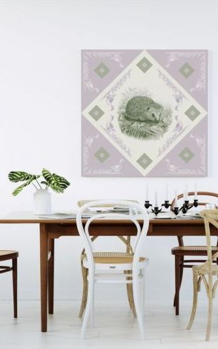 【Canvas Print】PHOTOWALL / Hedgehog, Green Purple (e41006)
