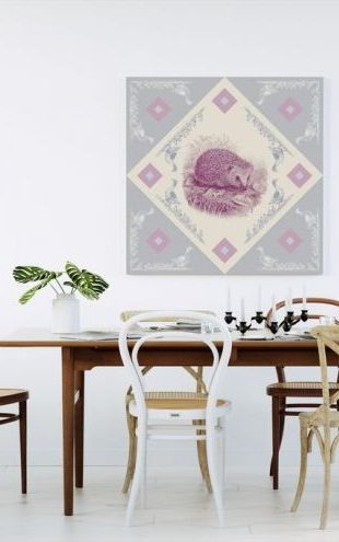 【Canvas Print】PHOTOWALL / Hedgehog, Blue Pink (e41007)