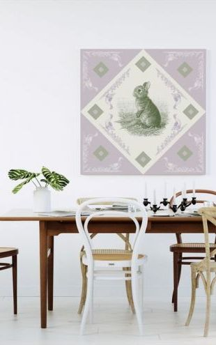 【Canvas Print】PHOTOWALL / Rabbit, Green Purple (e41010)