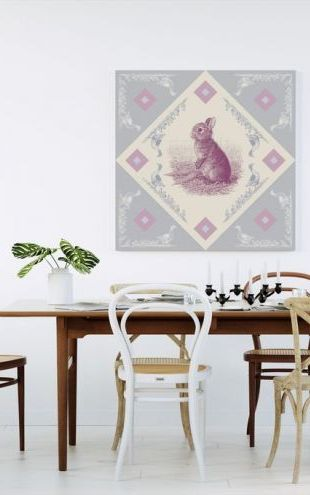 【Canvas Print】PHOTOWALL / Rabbit, Pink Blue (e41011)