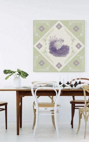 【Canvas Print】PHOTOWALL / Chicken 2, Purple Green (e41015)